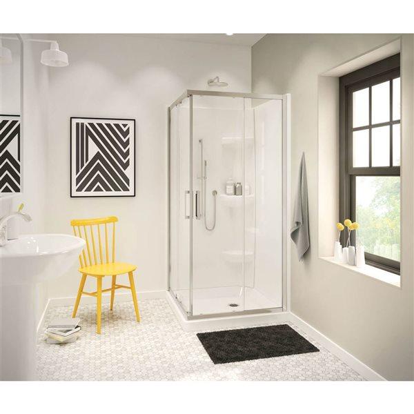 MAAX Radia Square 36-in x 72-in Nickel Clear Shower Door