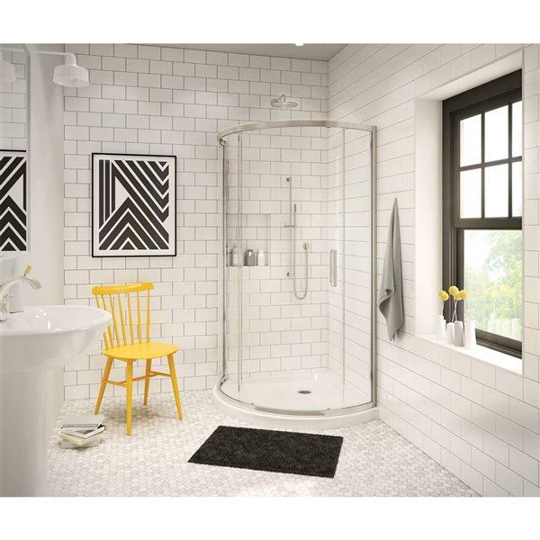 MAAX Radia Round 36-in x 72-in Nickel Clear Shower Door