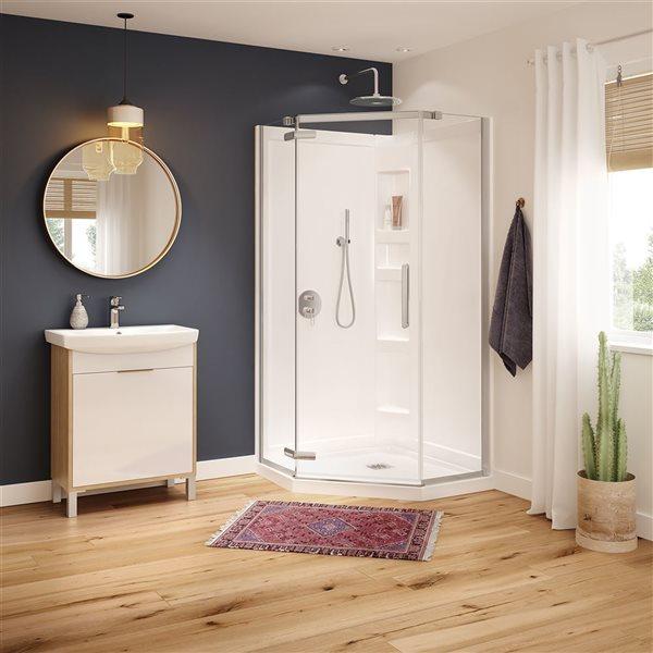 MAAX Hana Neo-Angle 40-in x 75-in Chrome Shower Door