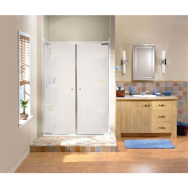 Maax Kleara Mistelite 46-49-in x 69-in Brushed Nickel 2-Panel Shower Door