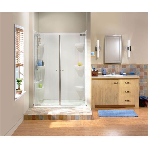MAAX Kleara 37-40-in x 69-in Chrome Clear 2-Panel Shower Door