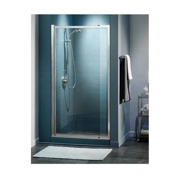 Maax Pivolok Clear 33-37-in x 65-in Chrome Shower Door
