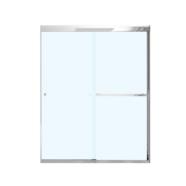 Maax Aura 55 59 In X 71 In Chrome Clear Soft Close Shower