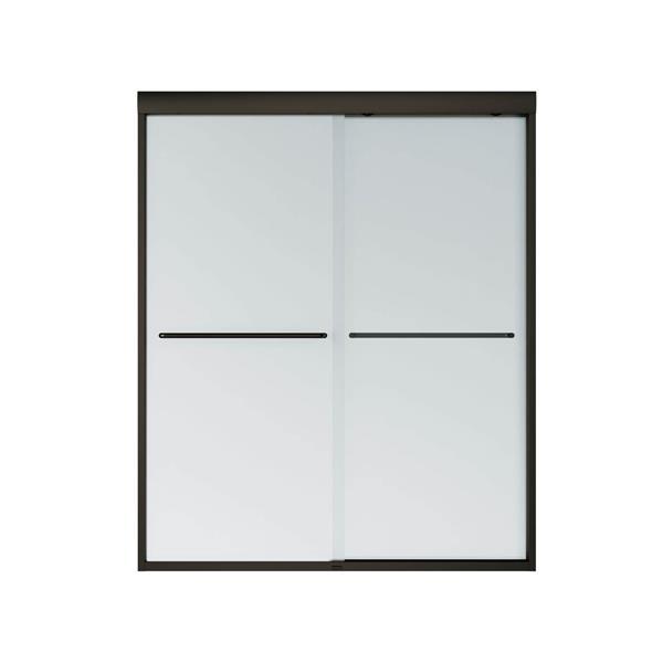MAAX Aura 55-59-in x 71-in Dark Bronze Mistelite Shower Door