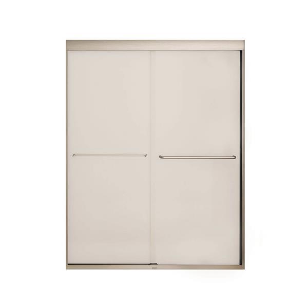 MAAX Aura 51-55-in x 71-in Nickel Mistelite Shower Door
