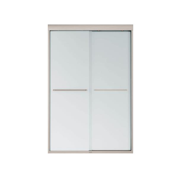 MAAX Aura 43-47-in x 71-in Nickel Mistelite Shower Door