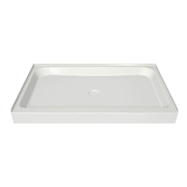 MAAX Alcove 60-In x 36-In x 5-In White Shower Base Centre Drain
