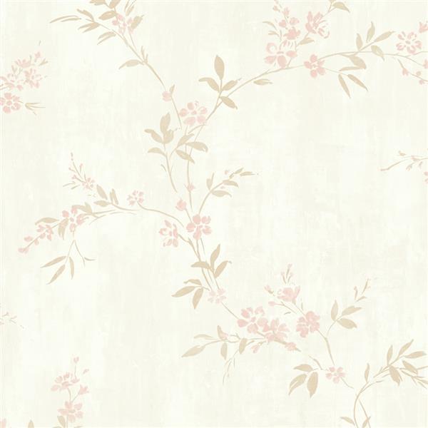 Papier peint floral classique métallique