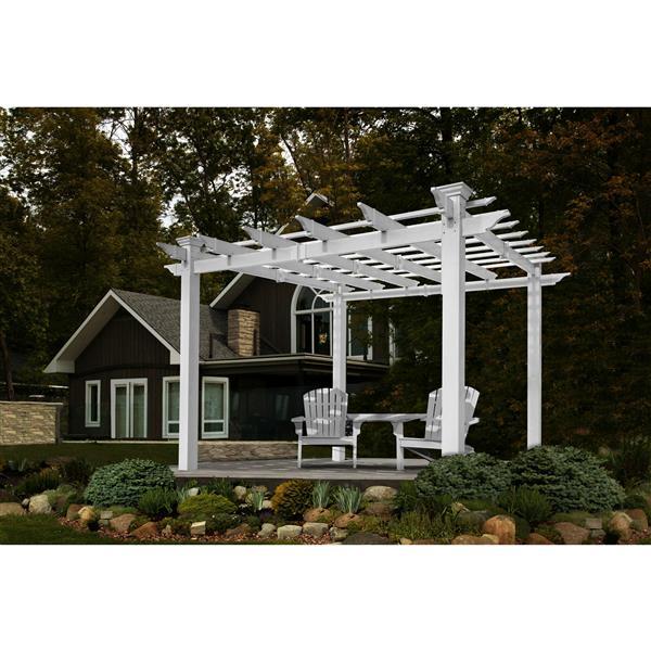 New England Arbors White PVC Mirage Pergola