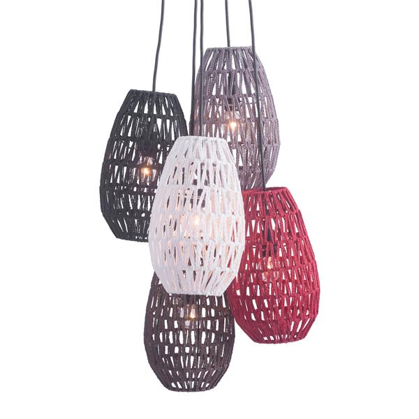 Luminaire suspendu Utopia de Zuo Modern, 5 lumières, 17,7 po x 64 po, brun/rouge