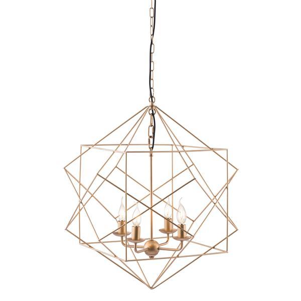 Zuo Modern Penta 24.8-In x 72.8-In Gold 4-Light Pendant Light