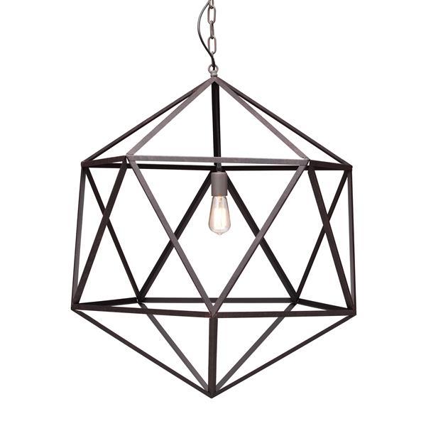 Luminaire suspendu Amethyst de Zuo Modern, 30,7 po x 74 po, brun rouille
