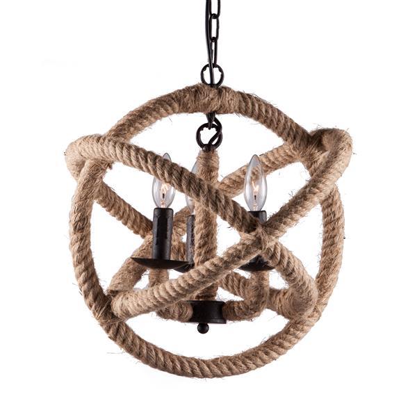 Luminaire suspendu Caledonite de Zuo Modern, 16,9 po x 47,2 po, corde de jute
