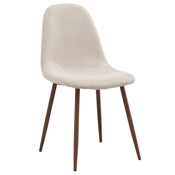 Chaise en tissu, ens. de 4, blanc cassé
