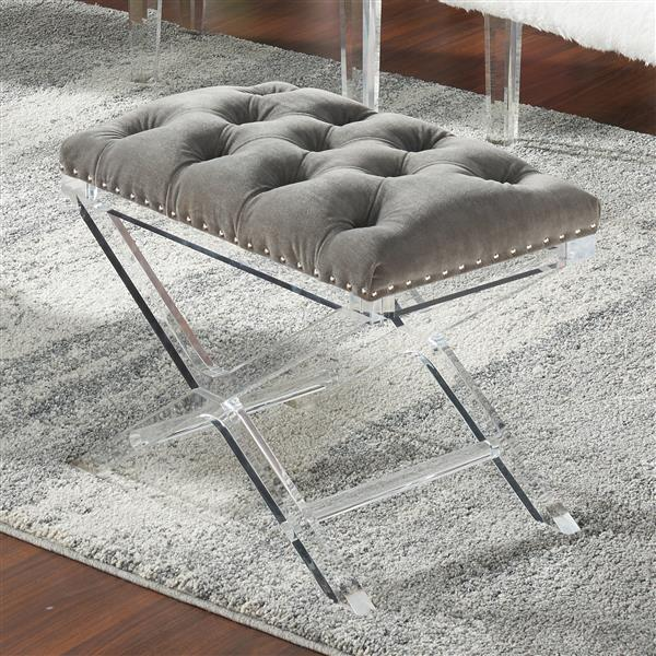 Worldwide Home Furnishings !nspire 17.64-Lbs, Height 18.50-In, Length 24-In, Depth 16-In Grey Velvet Tufted Indoor Bench