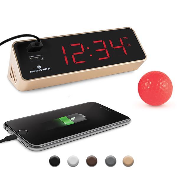 Horloge LED Marathon, rectangle, doré