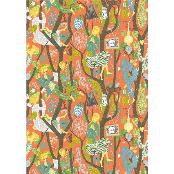 Brewster Wallcovering Orange Melodi Folk Non-Woven Unpasted Wallpaper