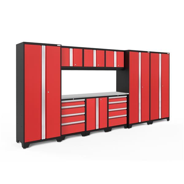 Armoires de garage Série Bold3.0 Rouge, 10pièces