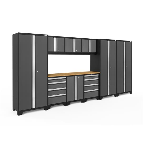NewAge Products 77.25-in x 162-in 10 Piece Grey Bold 3.0 Series Garage Cabinets With Bamboo Work Surface