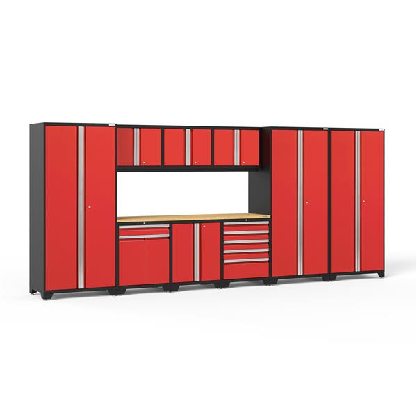 NewAge Products 85.25-in x 192-in 10 Piece Red Pro 3.0 Series Garage Cabinets With Bamboo Work Surface