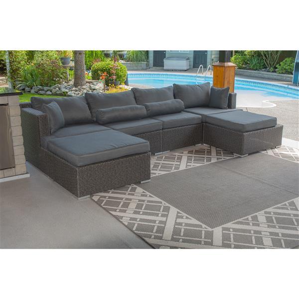 Patio Flare Sarah 6 pc Dark Grey Outdoor Modular Sofa Set