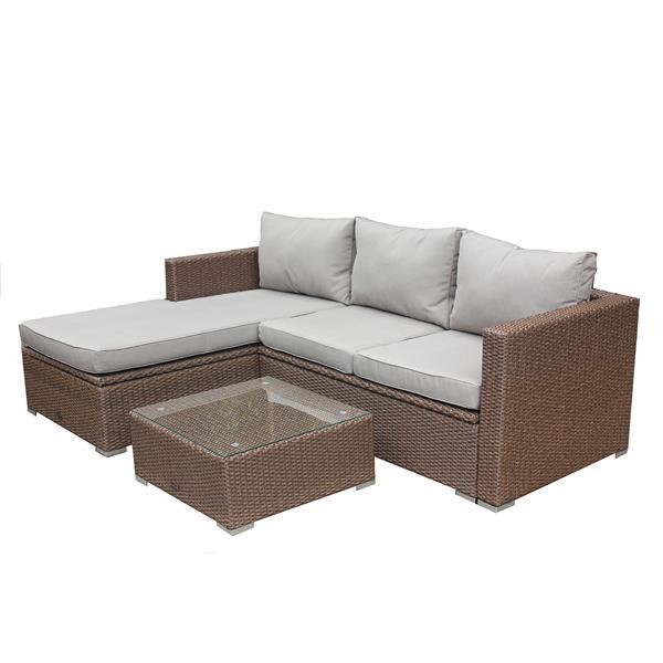 Super Patio Flare Emmett 3 Pc Beige Dark Brown Outdoor Sofa Set Download Free Architecture Designs Aeocymadebymaigaardcom