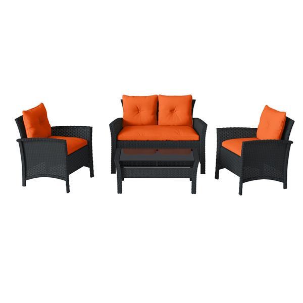 Corliving 4 Pc Black Orange Rattan Wicker Patio Set Pcs 516 S