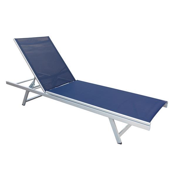 Chaise longue inclinable en tissu de mailles bleu marine