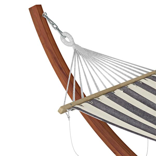 Corliving Free Standing Patio Hammock In Striped Canvas Pwc 364 H
