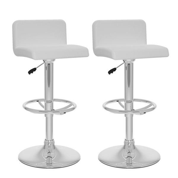 CorLiving Adjustable Barstool - White Leatherette - Set of 2