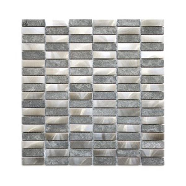 Tuile murale/dosseret, acier inox et roche basalte, 11 mcx
