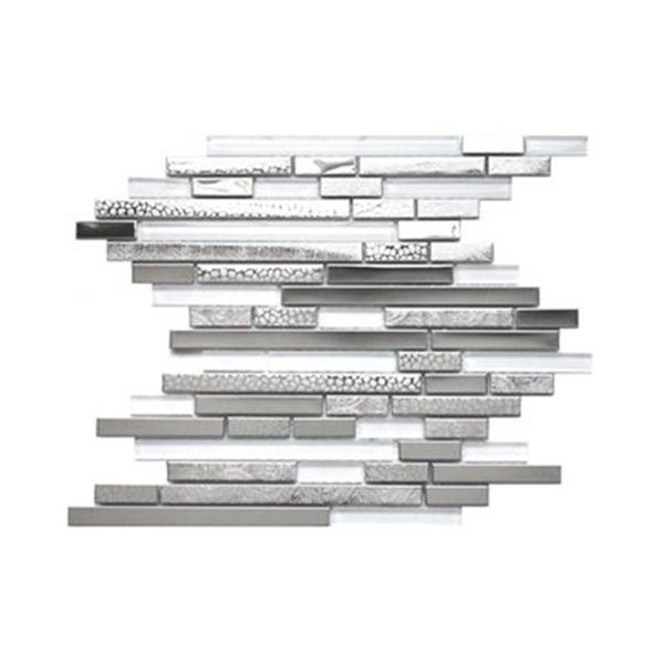 Eden Mosaic Tiles Modern Random Mix Tile White Glass Textured Metal - 11-Pack