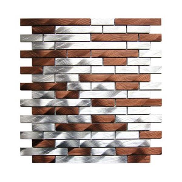 Eden Mosaic Tiles Brick Mixed Aluminum Mosaic Tile - Silver/Brown - 11-Pack
