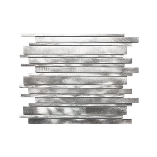 Eden Mosaic Tiles Long Random Bar Aluminum Tile - Silver - 11-Pack