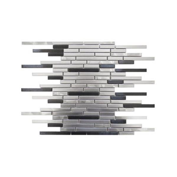 Eden Mosaic Tiles Thin Stainless Brick Mosaic - Silver/Black - 11-Pack