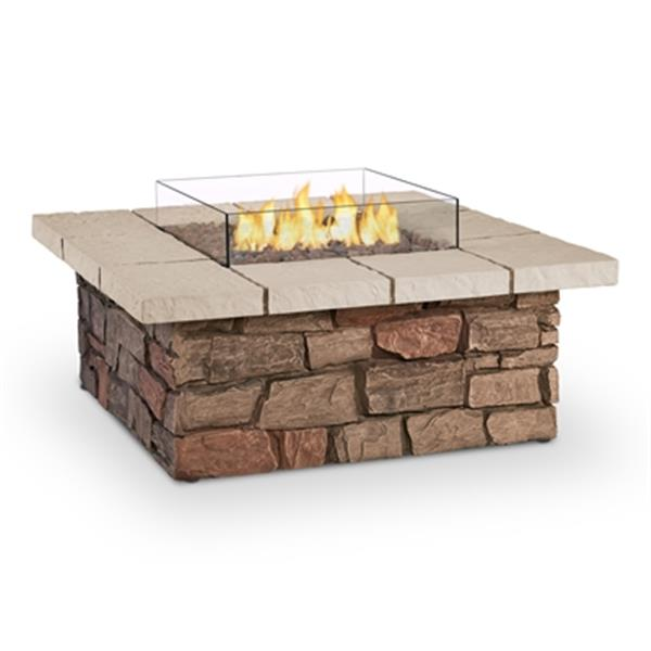 "Sedona Square Propane Fire Table - 38.25"" x 19"" - Faux Stone"
