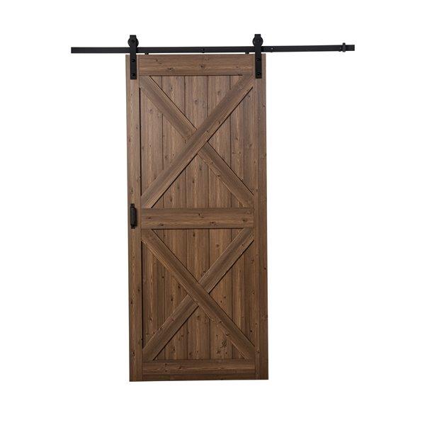 ReliaBilt Renin 36-in x 96-in Brown X Barn Door with Hardware Kit