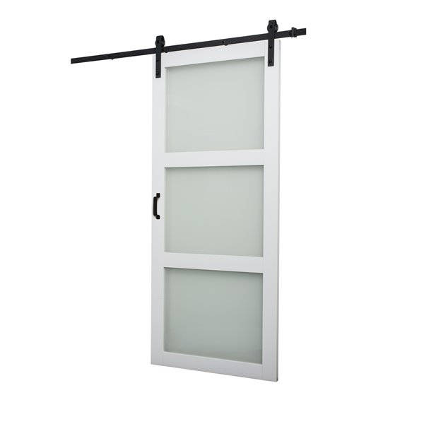 Reliabilt 36 In X 84 In White Frosted Glass Barn Door And