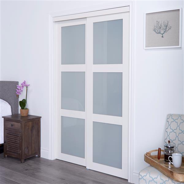 ReliaBilt Renin 72-in x 80-in Off-White Frosted Glass Sliding Closet Door