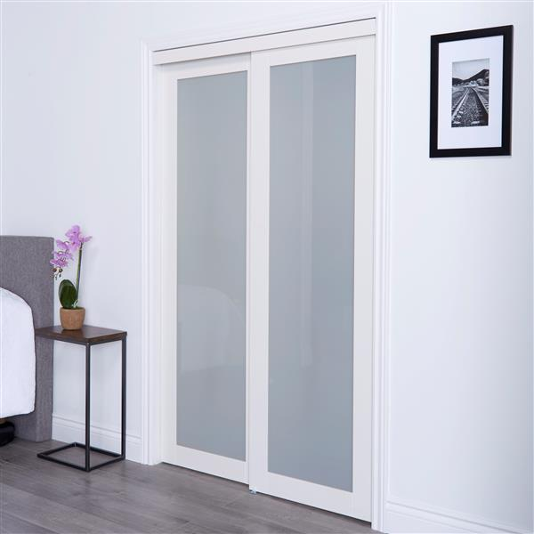 ReliaBilt Renin 48-in x 80-in Off-White Sliding Frosted Glass Door