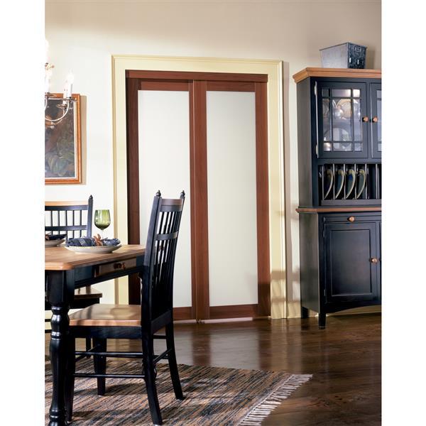 ReliaBilt Renin 60-in x 80-in Cherry Sliding Frosted Glass Door
