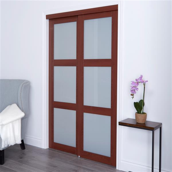 ReliaBilt Renin 60-in x 80-in Cherry Frosted Glass Sliding Closet Door