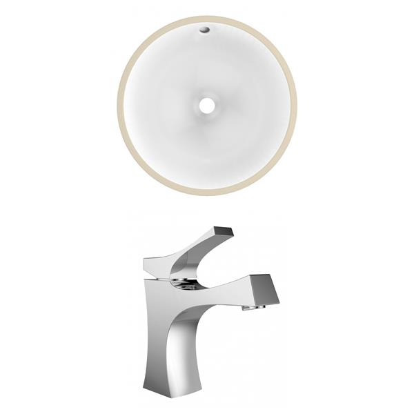 American Imaginations 15.75-in W CUPC Round Undermount Sink Set With 1-Hole Faucet Chrome/White