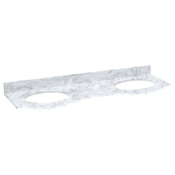 "Dessus en marbre Tiffany, 61,8"" x 23,8"", blanc"