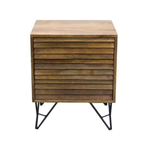"CDI Furniture Shutter Nightstand - 18"" x 22"" - Wood - Natural"
