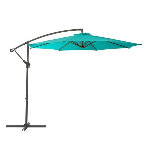 CorLiving Offset Patio Umbrella - Turquoise Blue