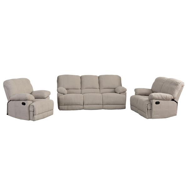 Beige Chenille Fabric Reclining Sofa Set - 3 Pieces