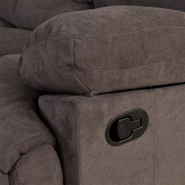 Corliving Causeuse Inclinable En Tissu Chenille Gris Lzy 331 L