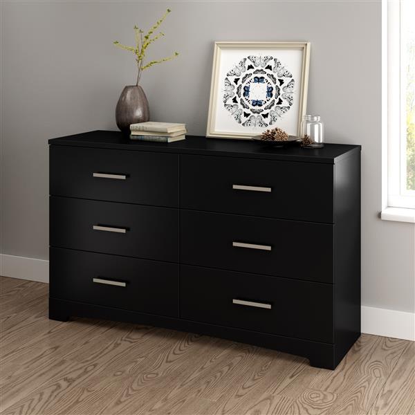 South Shore Furniture Gramercy 6-Drawer Double Dresser - Black