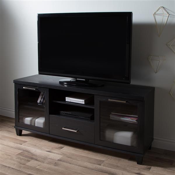 South Shore Furniture Adrian TV Stand - 59.5-in x 17-in x 27.75-in - Black